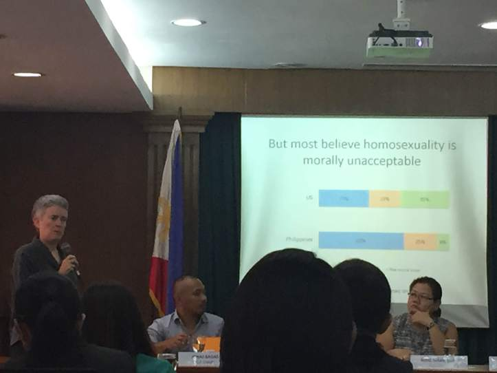 Prof. Lee Badgett speaks at a forum in the House of Representatives