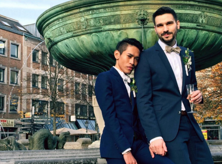 A photo Kaendi  shared on Instagram of his partner now husband Thorsten Mid after their marriage in Germany. Photo from Kaendi's Instagram account (@bemondce).