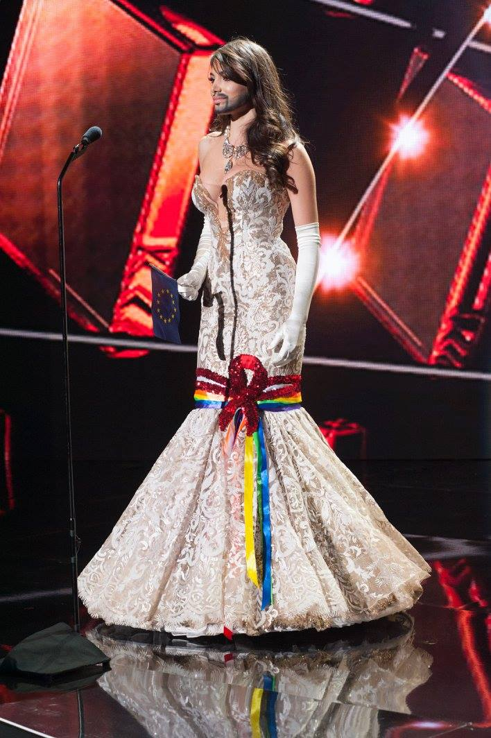 Amina Dagi, Miss Austria 2015, is Conchita Wurst in the National Costume portion of Miss Universe 2015. Photo from the Miss Universe Facebook account (www.facebook.com/MissUniverse)